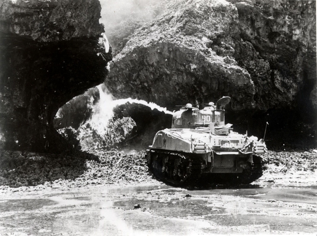 American tanks burning the shelters (with flamethrowers) ©Naha City Museum of History